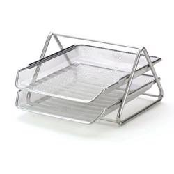 2-Tier Mesh Letter Tray Silver