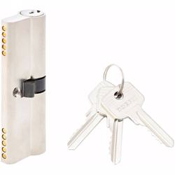 Double Cylinder Lock with Key for Doors 5 Pin Silver 90 mm