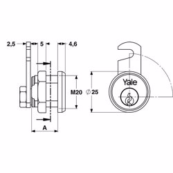 Yale 890 Universal Cylinder for metal cabinets 16mm Nickle Plated Brass 90° rotation preview