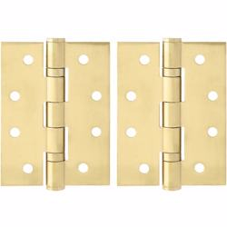 "Dorfit Two Ball Bearing Door Hinges 4""x3.5""x3 mm Gold Finish"