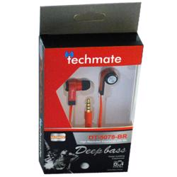 TechMate DT 5078 BK/RD EarPhone with Mic - Black/Red
