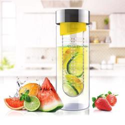 ASOBU Flavor It Glass Water Bottle With Fruit Infuser Yellow 600 ml