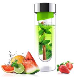 ASOBU Flavor It Glass Water Bottle With Fruit Infuser Green 600 ml
