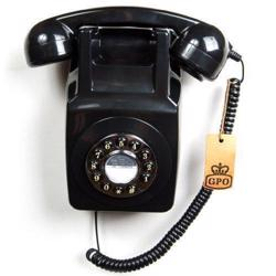 GPO 746 Wall-Mounted Push-Button 1970s-style Retro Landline Telephone Black