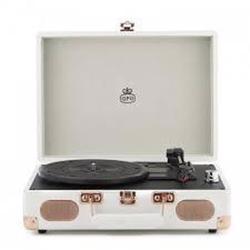 GPO Soho Vinyl Record Player + Built-in Speaker Cream
