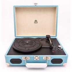 GPO Soho Vinyl Record Player + Built-in Speaker Blue
