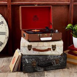 GPO Attache Vinyl Record Player Brown