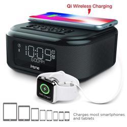 iHOME Bluetooth Stereo Dual Alarm Clock with Speakerphone - Wireless Charging Plus USB Charging