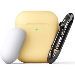 KEYBUDZ PodSkinz Switch Case with Carabiner for AirPods 1 & 2 - Pastel Yellow