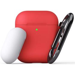 KEYBUDZ PodSkinz Switch Case with Carabiner for AirPods 1 & 2 - Red