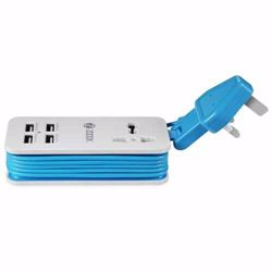 Zoook Portable Charging Station, 4 port USB & universal power socket (5.1A Output) UK version - White with Blue preview