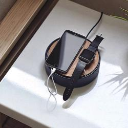 NATIVE UNION Eclipse 3 Port USB Charger with Cable Management with Touch Sensor Light Wood