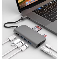 ADDICTED 8 Hub USB-C 2.0, 3x Usb 3.0, Micro SD, SD, 4K HDMI and Ethernet