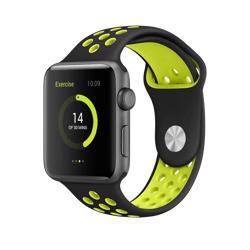 BEHELLO Premium Apple Watch 42/44mm Silicone Strap - Black/Yellow