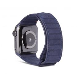 DECODED 42-44mm Leather Magnetic Traction Strap for Apple Watch Series 5, 4, 3, 2, and 1 - Blue preview
