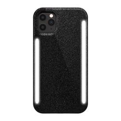 LUMEE Duo Phone Case with Selfie Light for iPhone 11 Pro - Black Glitter