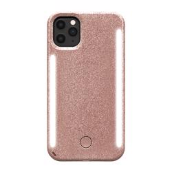 LUMEE Duo Phone Case with Selfie Light for iPhone 11 Pro Max - Rose Glitter