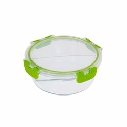 RoyalFord RF9216 Food Storage Container, Green Clips, 2 Compartment Round Storage Box, Plastic Sealable Food Storage Container, 950 ML