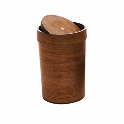 RoyalFord RF8694 16L Dust Bin , Bathroom Bin with Swing top Lid, Durable Design, Unique Wood Finishing and Polymer Material , Trash Bin Perfect for Home or Office Use , Easy to Clean & Stylish Design
