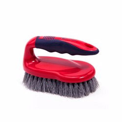 RoyalFord RF8827 Scrubbing Brush with Handle - Easy to Clean Hard & Stiff Bristle Brush Made of Durable Plastic Material - Floor Tile Decking Household Scrub Cleaning - Red Colour