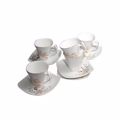 Royalford RF5725 New Bone China Square Cup & Saucer Set, 12pieces