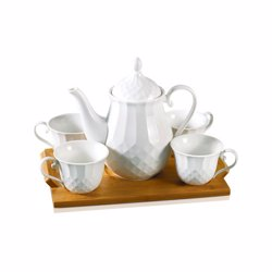 Royalford RF8683 Porcelain Tea Set with Bamboo Tray