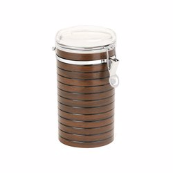 RoyalFord RF8223 Stainless Steel Coffee Container Storage, Cherrywood Kitchen Storage Jars with Durable Locking Tab