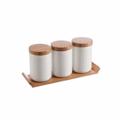 RoyalFord RF9243 3 Pcs Porcelain Canister Set with Wooden Stand - Ideal for Daily Use , Non-Toxic, Ecologically Tasteless, Smooth Surface, Comfortable Grip and Lightweight , Durable and Elegant Design