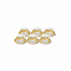 RoyalFord RF9420 180ml 12PCS Porcelain Cup & Saucer Set , Ideal for Daily Use , Non-Toxic, Ecologically Tasteless, Smooth Surface, Comfortable Grip and Lightweight