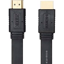 Zoook ZT HDF1.8M Ultra Flat high speed HDMI cable with Ethernet and Gold Plated Connectors (1.8 Meter) - Black preview