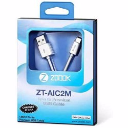 Zoook Apple Licensed iphone Charging Cable made of ABS with High Strength Connectors (1.8 Meter) - White