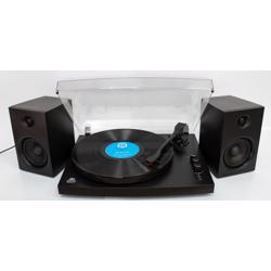 GPO Piccadily Stylish Turntable Bluetooth + 2 Speakers black