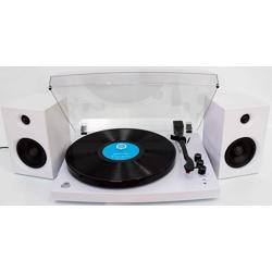 GPO Piccadily Stylish Turntable Bluetooth + 2 Speakers white