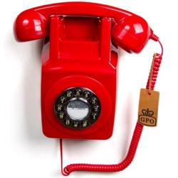 GPO 746 Wall-Mounted Push-Button 1970s-style Retro Landline Telephone Red