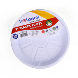 Hotpack 25-Piece Disposable Plastic Plates White 9 inch