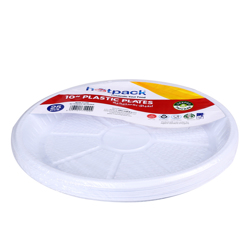 Hotpack 25-Piece Disposable Plastic Plates White 10 inch