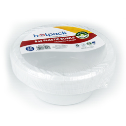 Hotpack 25-Piece Disposable Plastic Bowls White 8 ounce