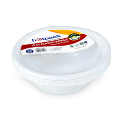 Hotpack 25-Piece Disposable Plastic Bowls White 12 ounce