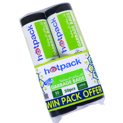 Hotpack Twin Pack Garbage Roll Black 80x110cm-55 Gallon (30Pcs)