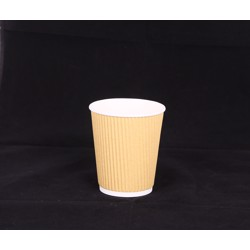 Hotpack 500-Piece Kraft Ripple Wrap Cup Beige/White 12 ounce