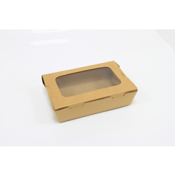 Hotpack 180x120x50 mm Kraft Lunch Box With Window-100Pcs