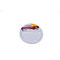 Hotpack Pack Of 20 Round Plastic Plate White 10 inch