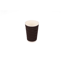 Hotpack 500- Piece Paper Zig- Zag Ripple Cup Set Brown/White 16 ounce