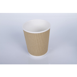Hotpack 500-Piece Kraft Ripple Wrap Cup Beige/White 8 ounce