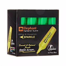 Elephant Highlighter - Green -1 Box of 12
