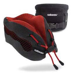 CABEAU Evolution Cool Travel Pillow, Air Circulating Head and Neck Memory Foam Cooling Travel Pillow Red