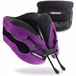 CABEAU Evolution Cool Travel Pillow, Air Circulating Head and Neck Memory Foam Cooling Travel Pillow Purple