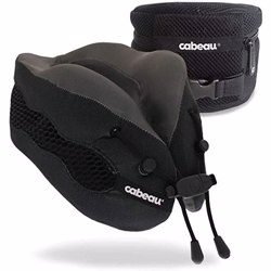 CABEAU Evolution Cool Travel Pillow, Air Circulating Head and Neck Memory Foam Cooling Travel Pillow Black