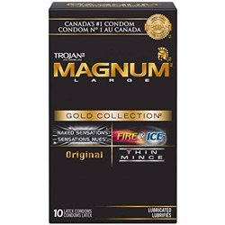 Trojan Magnum Gold Collection Variety Pack Lubricated Latex Condoms, 10 Count