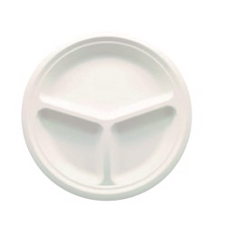 "BioWare 500 Piece 9"" Plate 3-compartment Bagasse Biodegradable"